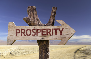 Prosperity wooden sign with a desert background