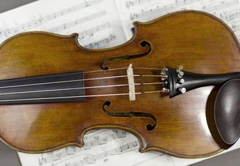 beautiful violin on a sheet music background