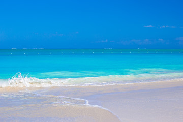 Perfect white beach with turquoise water at beautiful island