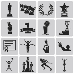 black trophy and awards icons set 2. Illustration eps10