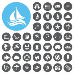 Vacation icons set. Illustration eps10