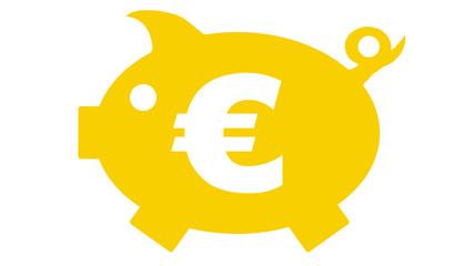 button - piggy bank - Sparschwein - yellow - 16 to 9 - g1171