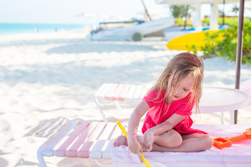 Adorable little girl during caribbean vacation