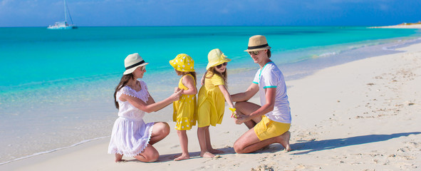 Happy beautiful family on caribbean holiday vacation
