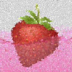 Strawberry in juice glass mosaic generated texture