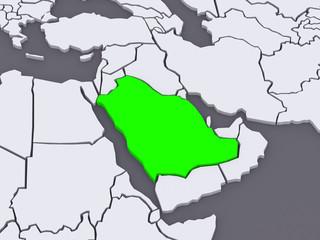 Map of worlds. Saudi Arabia.