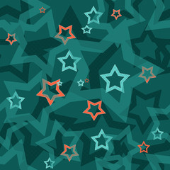 Seamless turquoise pattern with stars