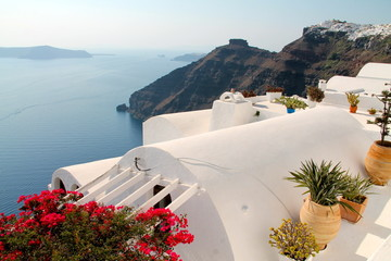 Greek house roof in Santorini
