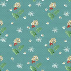 Cartoon cute flowers seamless pattern on blue