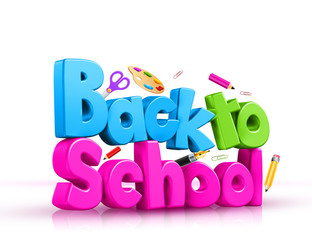 Colorful 3D Text of Back to School