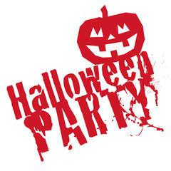 Halloween Party Grunge Stemp Red