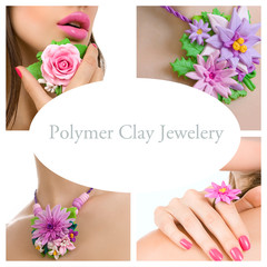 Collage of a polymer clay jewelery: floral jewelery made of poly