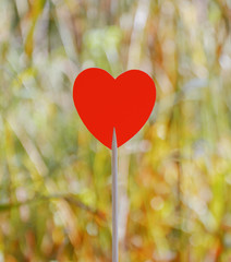 Red heart with bokeh background