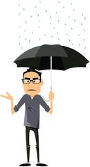 homme moderne sous la pluie
