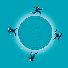 Business People Running Around Money