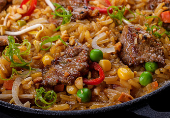 Rice and veal meat slice