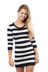 girl in a striped sweater