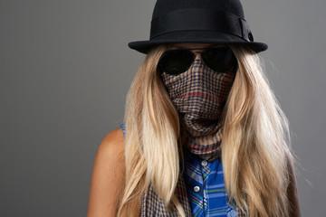 girl hides her face