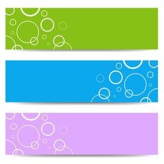Set of color banners with white circles