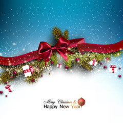 Christmas background with fir twigs garland and Xmas balls. Red