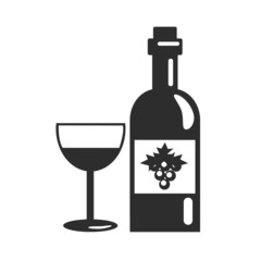 Vector Black Bottle of Wine Icon