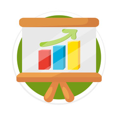 Vector Business Growing Graph Presentation Flat Round Icon