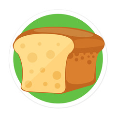 Vector Bread Flat Round Icon