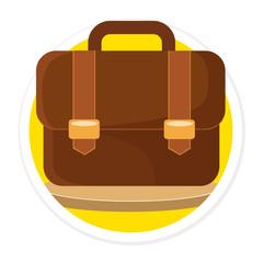 Vector Briefcase Flat Round Icon