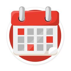 Vector Calendar Flat Round Icon