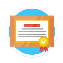 Vector Certificate Flat Round Icon