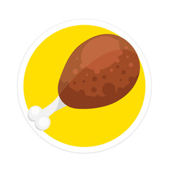 Vector Chicken Turkey Leg Round Icon