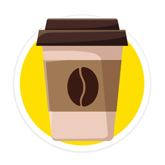 Vector Coffee Cup Flat Round Icon