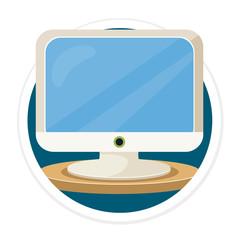 Vector Computer Flat Round Icon
