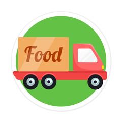 Vector Food Delivery Car Round Icon