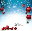 Christmas background with Red christmas balls and snow for xmas