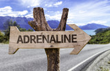 Adrenaline wooden sign with a street background poster