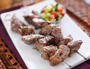 grilled garlic herb beef shishkabab skewers