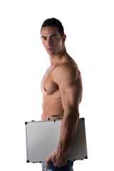Shirtless businessman carrying a briefcase