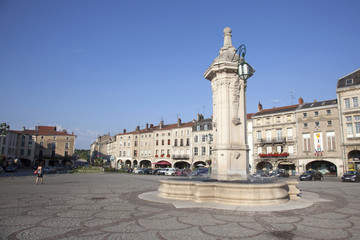fountain and square in Pont a Mousson