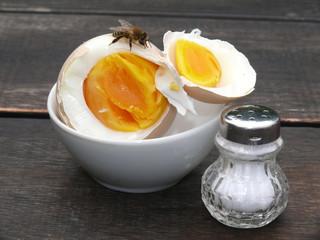 frühstücksei mit biene