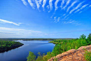 Rock structure and a lake in northern Ontario