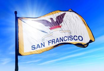 San Francisco (USA) flag waving on the wind