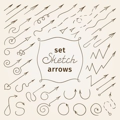 sketch set of arrows. vector illustration