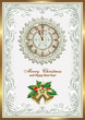 Christmas card with a clock and bells