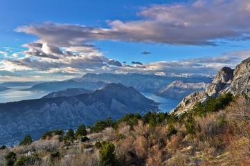 View of Kotor Bay Mountains, Montenegro