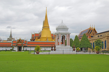 Wat Phra Kaew and the Grand Palace complex in Bangkok, Thailand