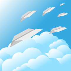 blue sky clouds paper airplane background