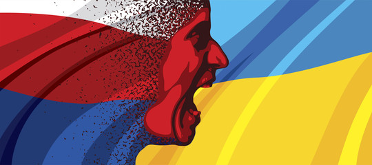 Angry face of Russia to Ukraine