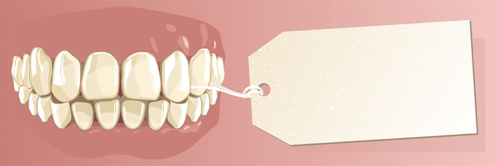 Healthy human teeth and label