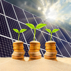 Investment in renewable energy. Business metaphor.
